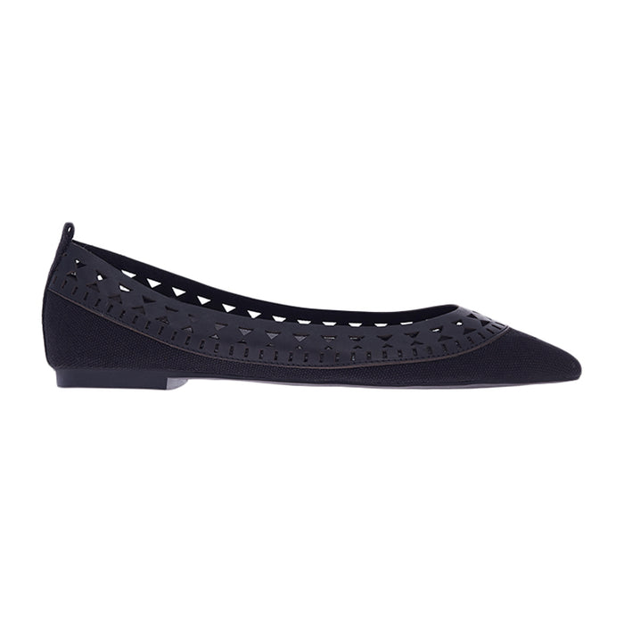 Woman Elma Leather Flats - Black