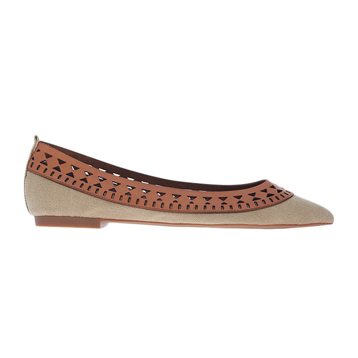 Woman Elma Leather Flats - Brown