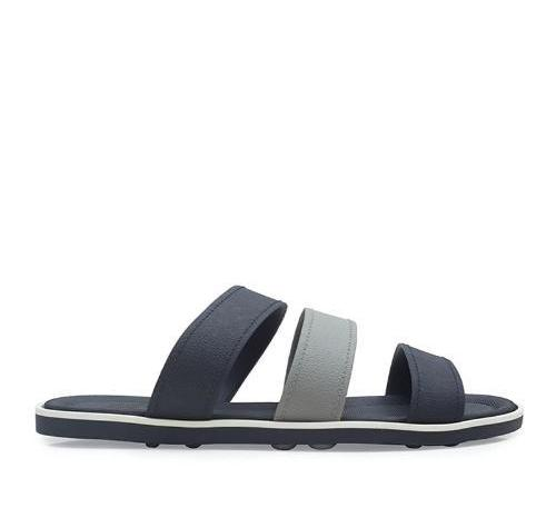 Triple Strap Rubber Sandals - Black