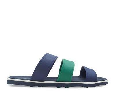 Triple Strap Rubber Sandals - Navy