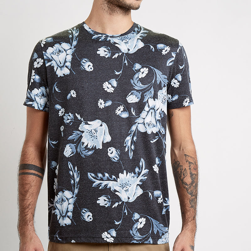 Floral Washed S/S Tee - Black
