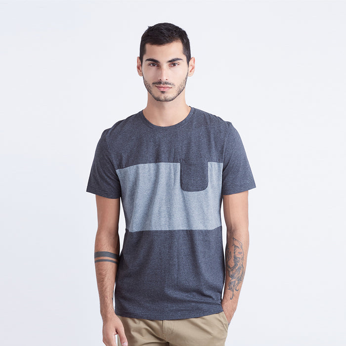 Middle Striped S/S Tee - Black
