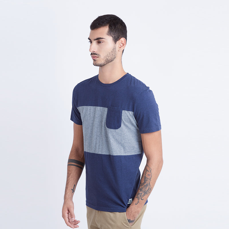 Middle Striped S/S Tee - Blue
