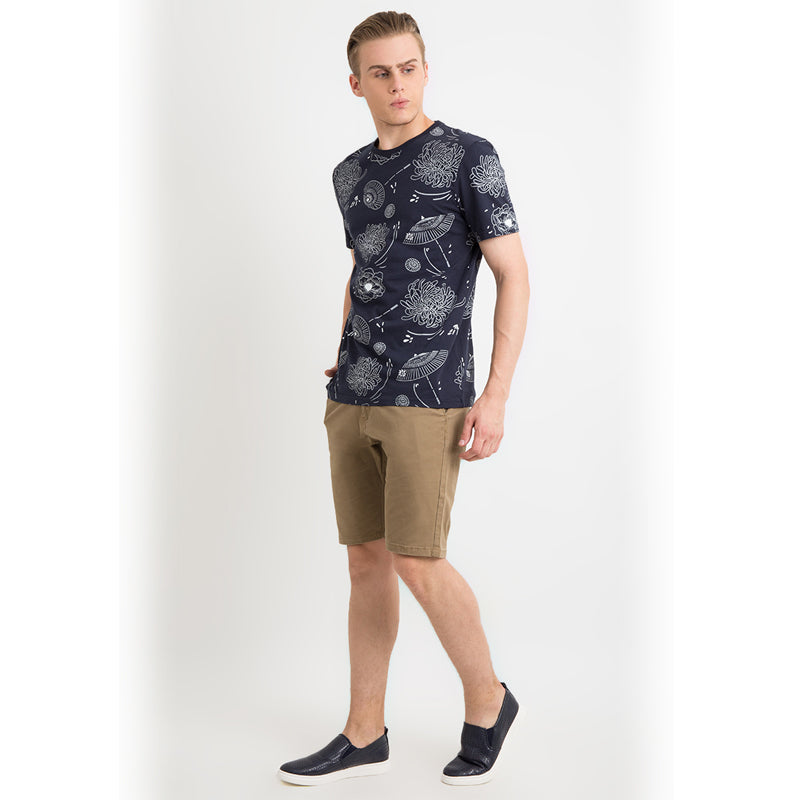 Floral Umbrella S/S Tee - Navy