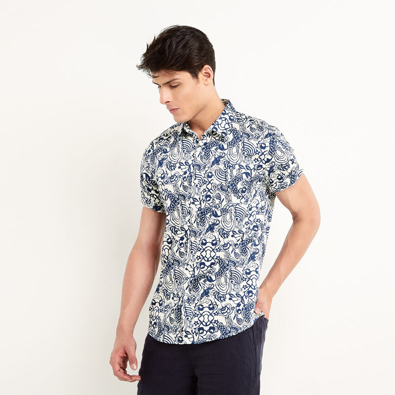 Floral Print 12 S/S Shirt - White