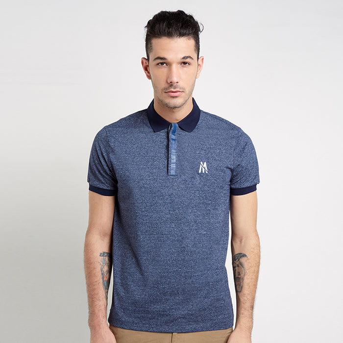 Lined Button Polo - Navy