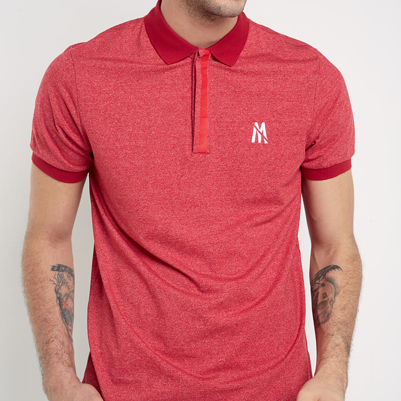 Lined Button Polo - Red