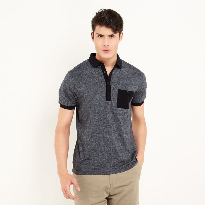 Contrast Pocket Polo - Black