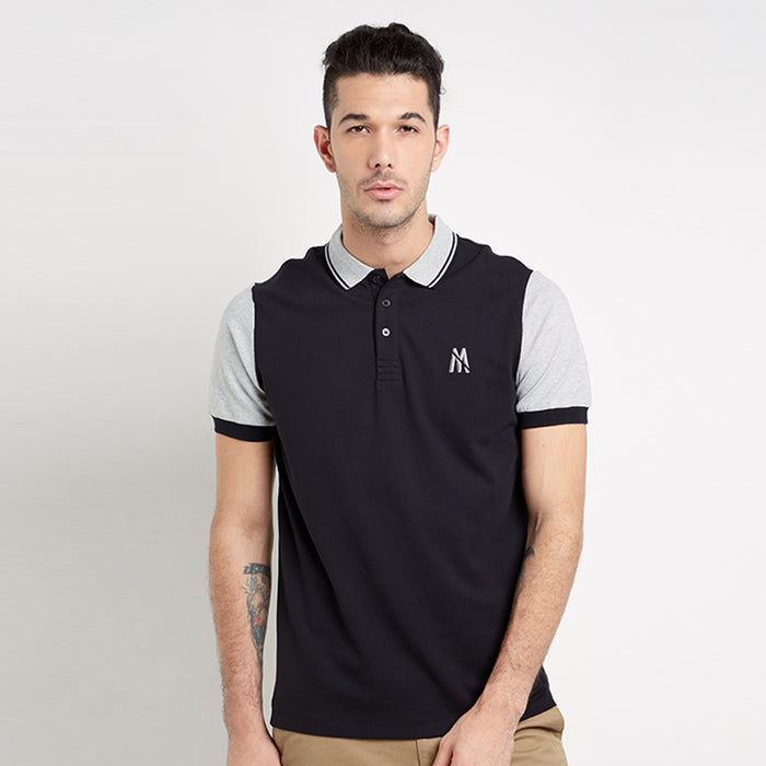 Contrast Sleeve Polo - Black
