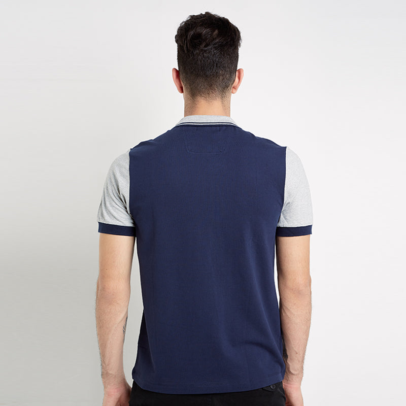 Contrast Sleeve Polo - Navy