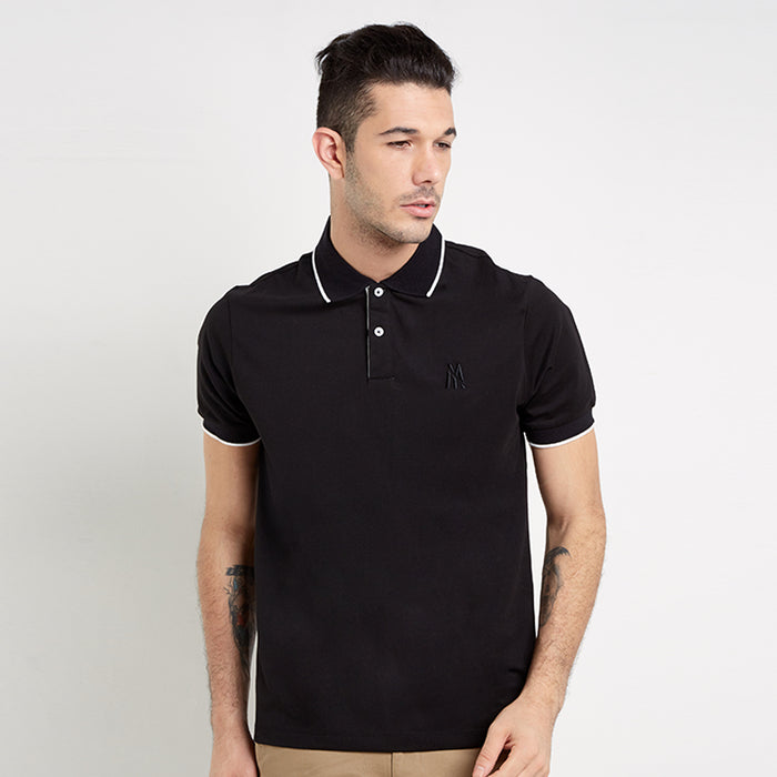 Lined Collar Polo - Black