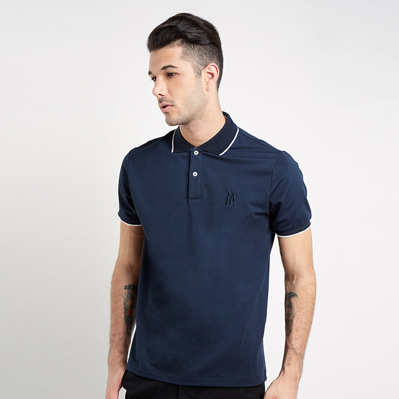 Lined Collar Polo - Navy