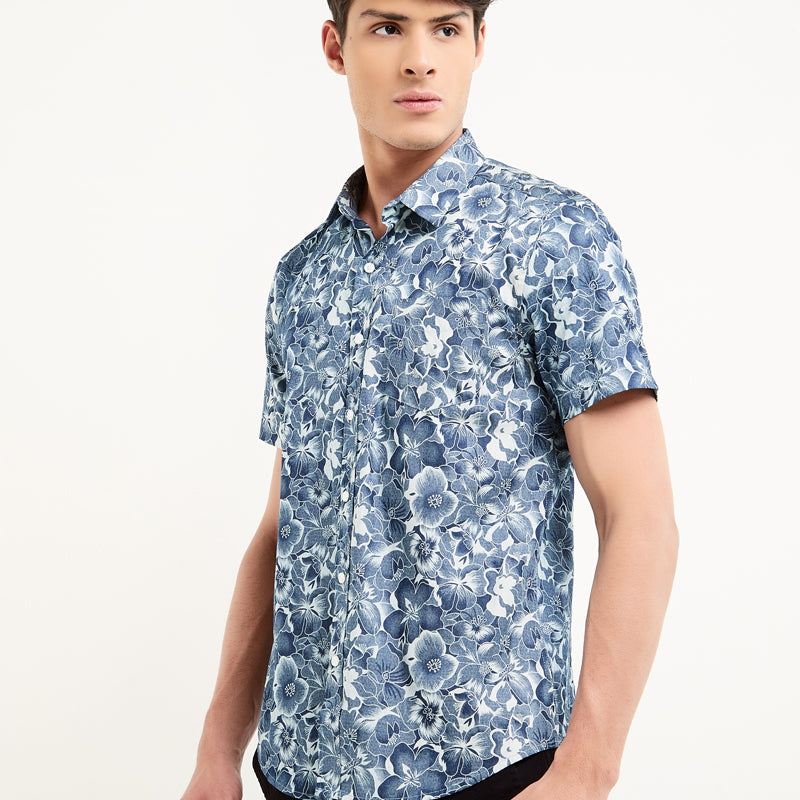 Floral Print 14 S/S Shirt -Navy