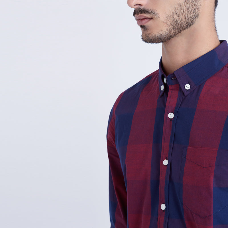 Check 004 L/S Shirt - Red