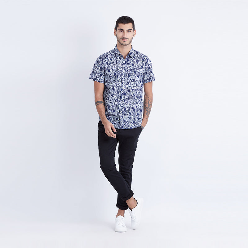 Floral Print 15 S/S Shirt - Navy