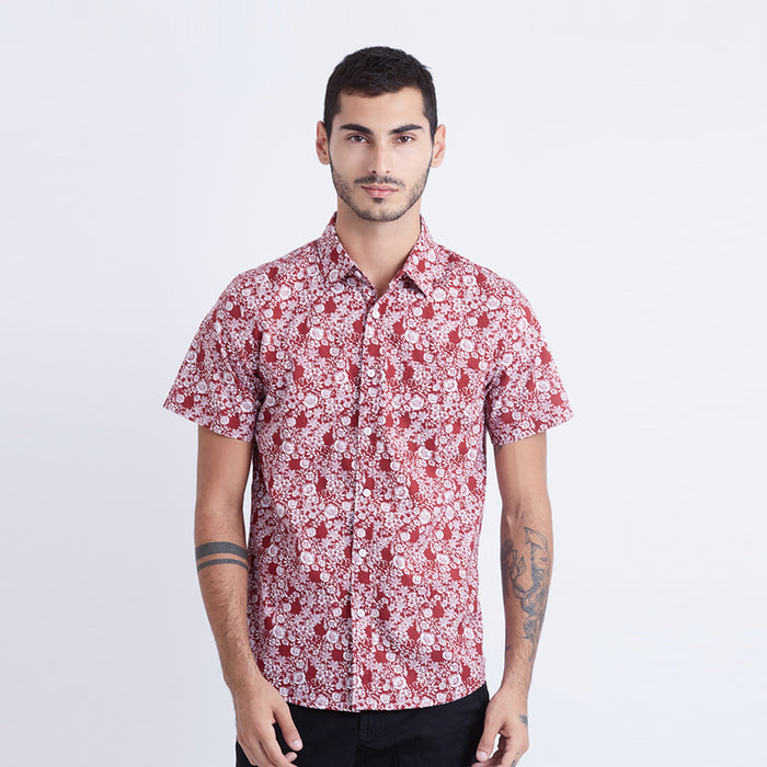 Floral Print 15 S/S Shirt - Red