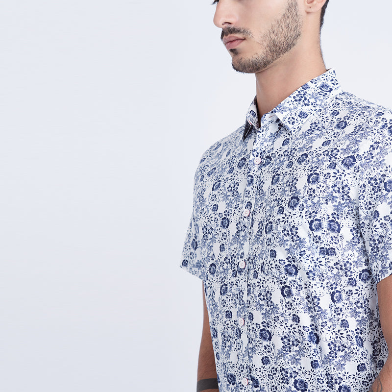 Floral Print 15 S/S Shirt - White