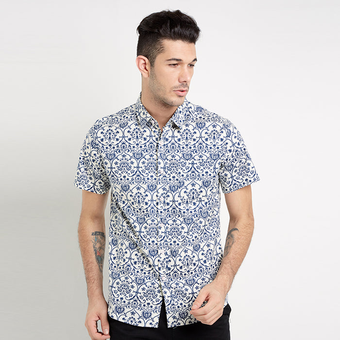 Pattern Print 05 S/S Shirt - White