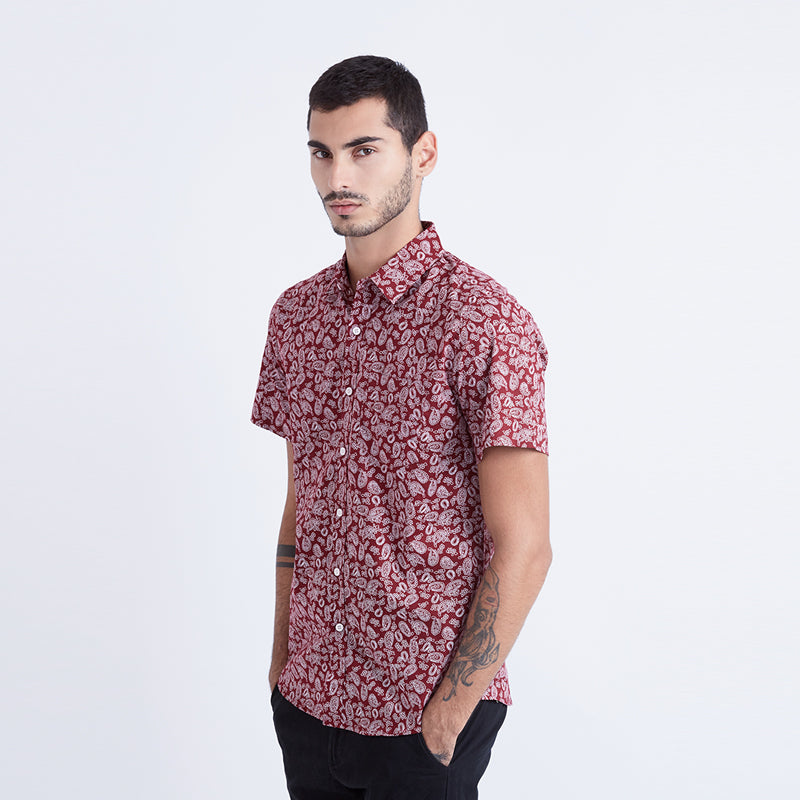 Paisley Print 03 S/S shirt - Red