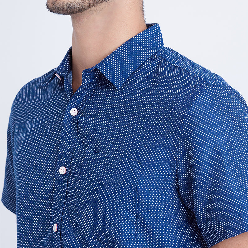 Dotted 06 S/S Shirt - Navy