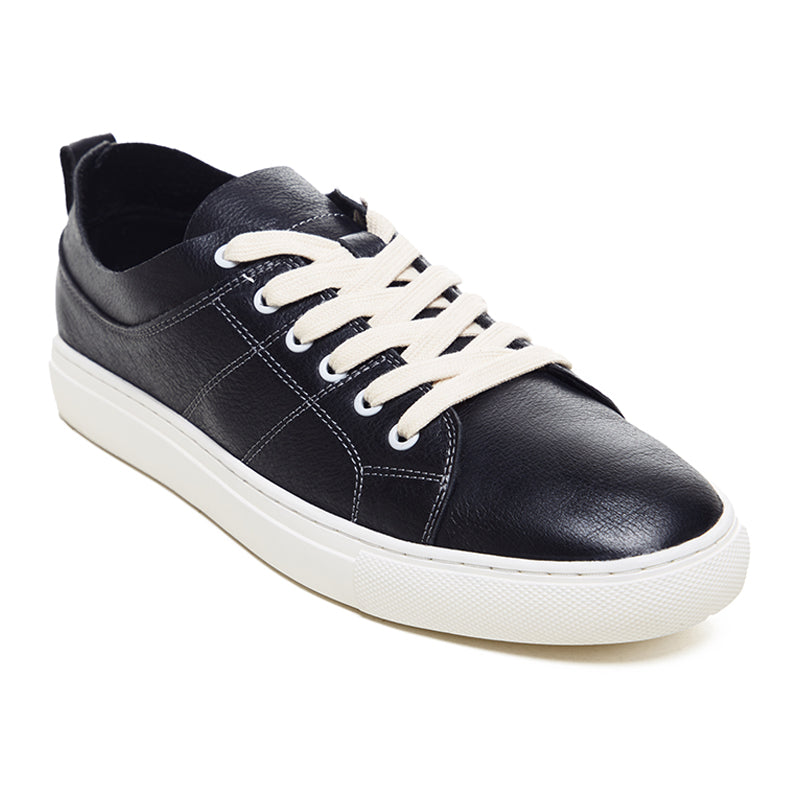 Embroidered Leather Sneakers 9752 - Black