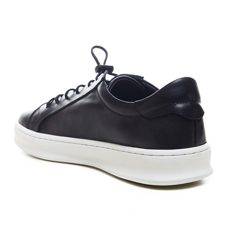 Basic Leather Sneakers 126-65 - Black