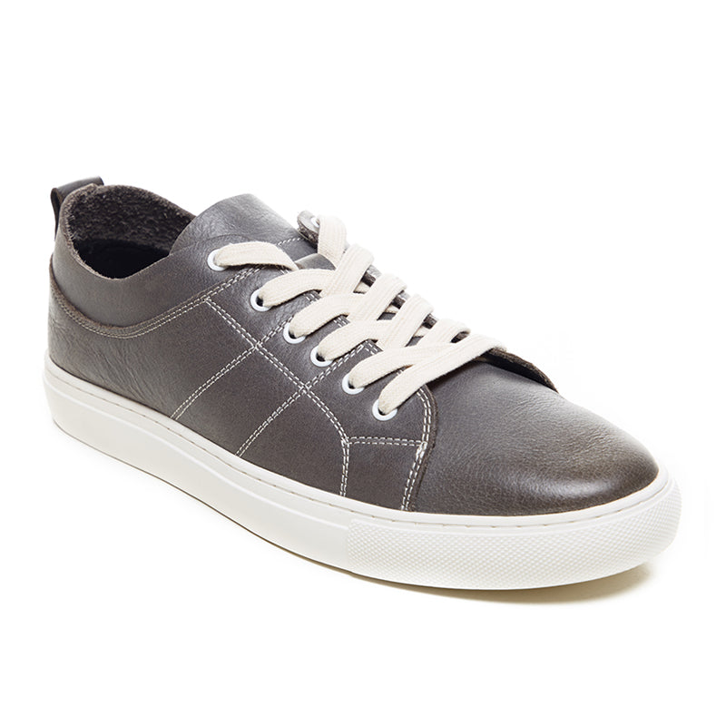 Embroidered Leather Sneakers 9752 - Grey