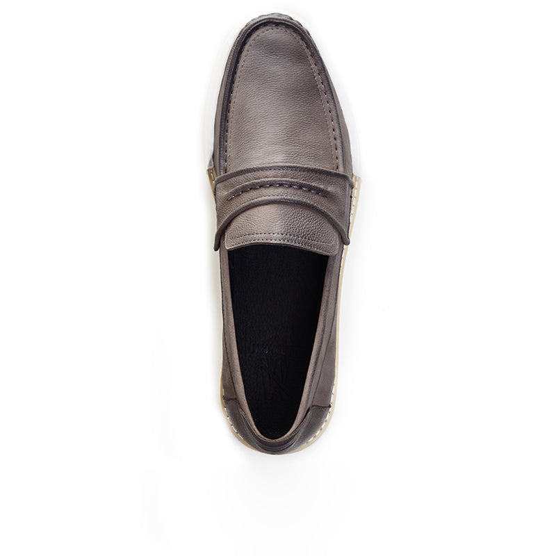 Leather Boat Loafers 130-01 - Grey