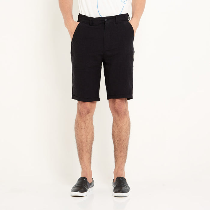 Pure Linen Shorts -Black