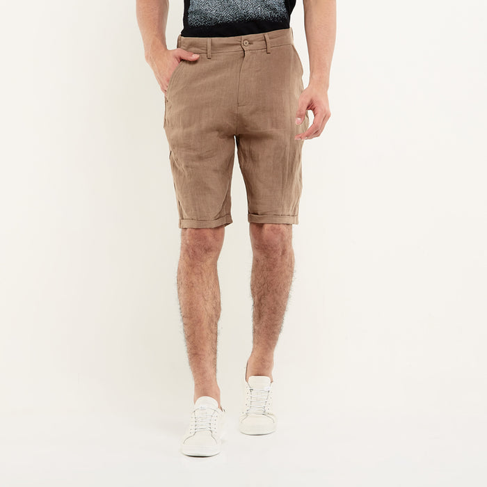 Pure Linen Shorts -Brown