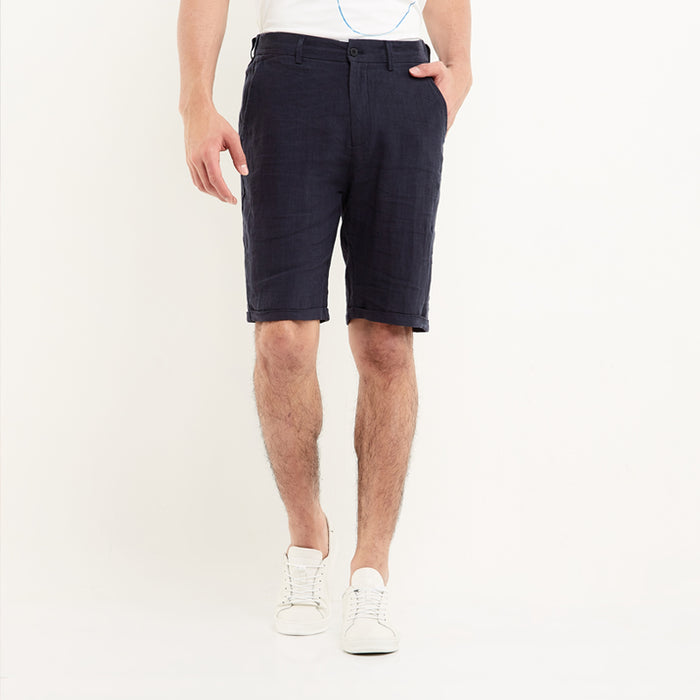 Pure Linen Shorts -Navy