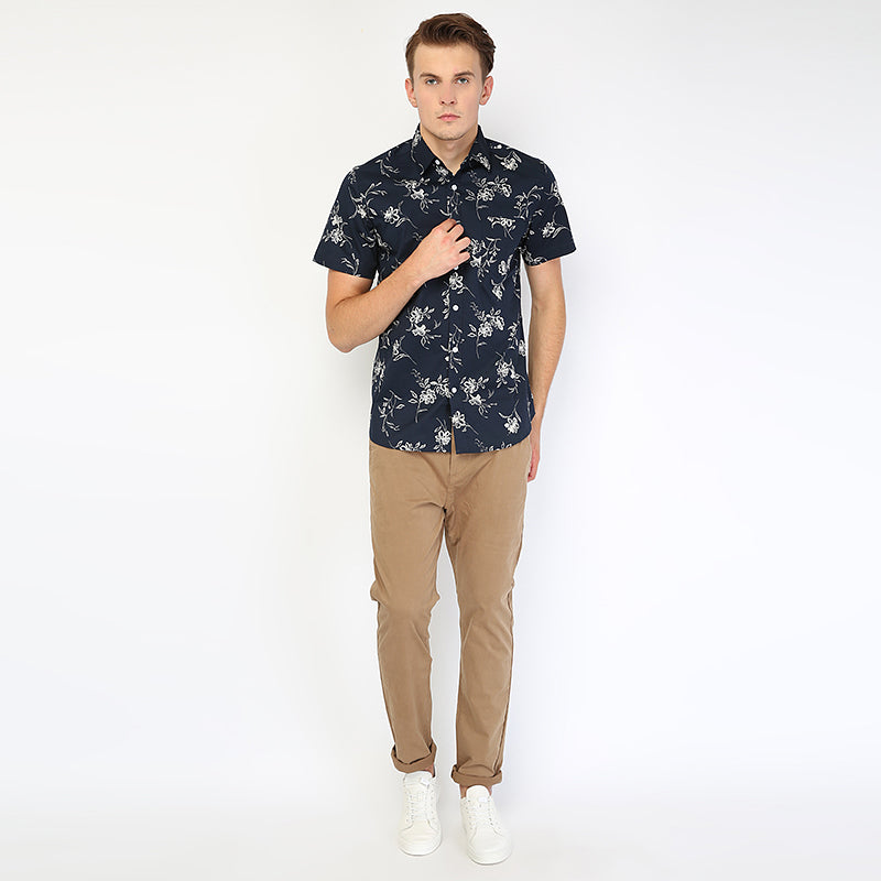 Floral 03 S/S Shirt - Navy