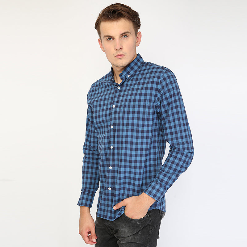 Gingham 014 L/S Shirt - Blue