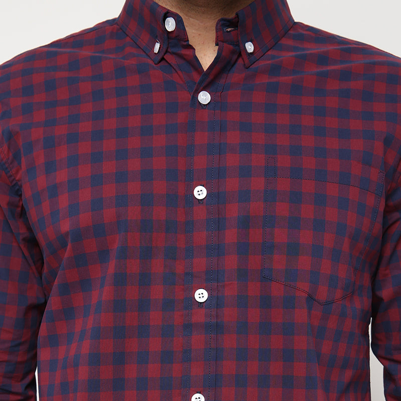 Gingham 014 L/S Shirt - Red