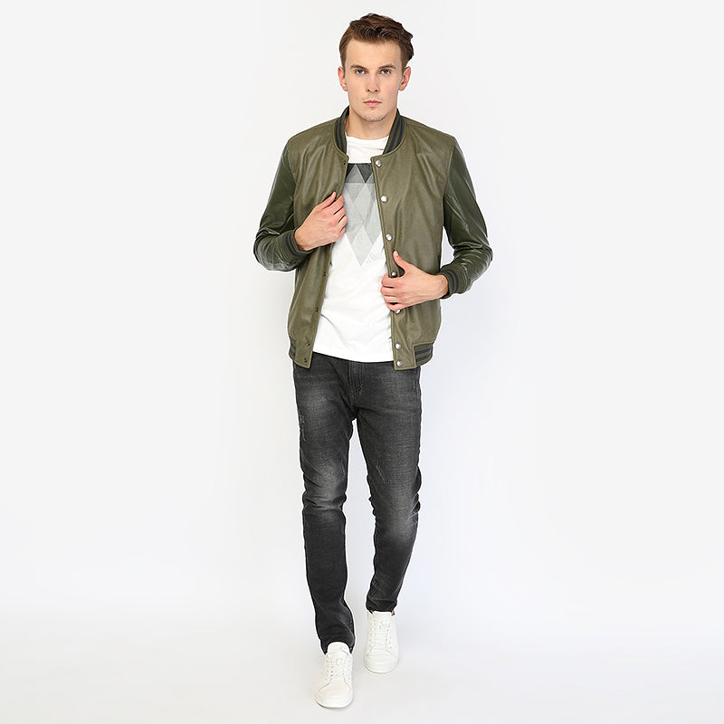 Leather Varsity Jacket - Green