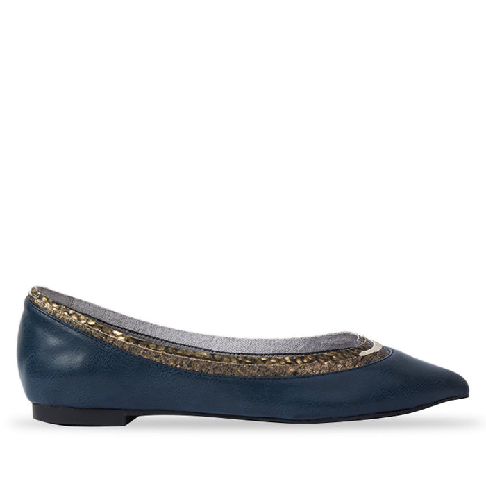 Woman Paula Leather Flats - Navy