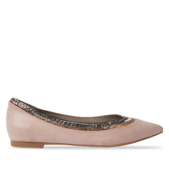 Woman Paula Leather Flats - Pink