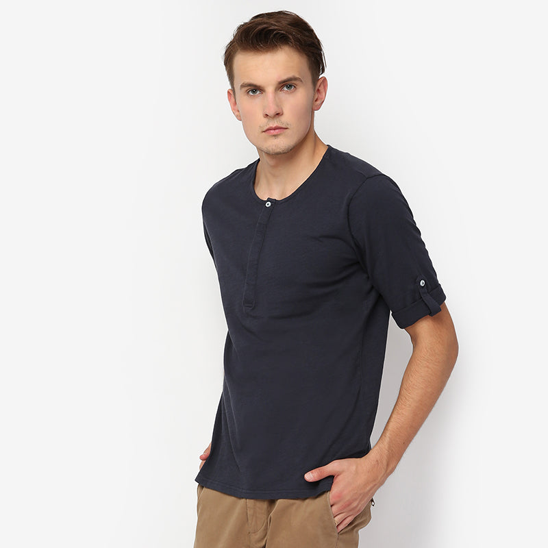 Henley Button S/S Tee - Navy
