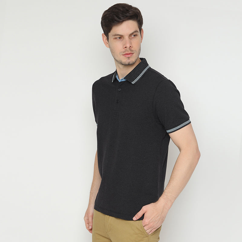 Striped Collar 07 Polo - Black