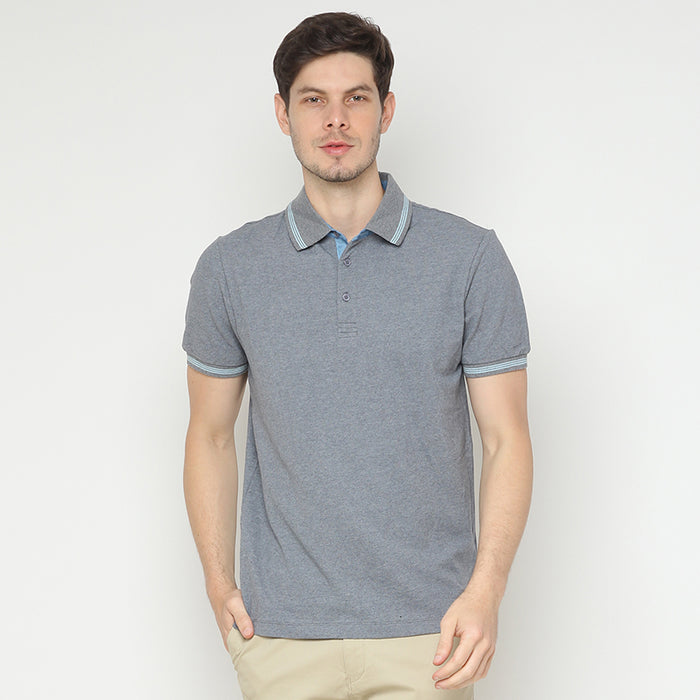 Striped Collar 07 Polo - Grey