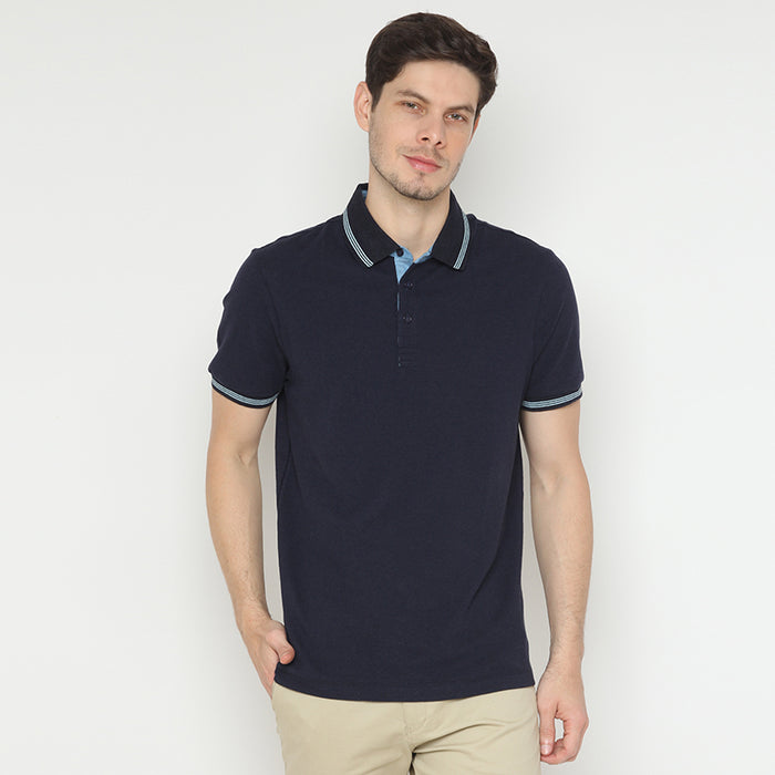 Striped Collar 07 Polo - Navy