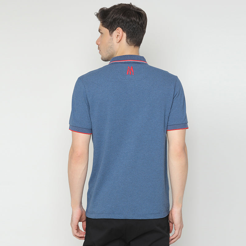 Striped Collar 06 Polo - Blue