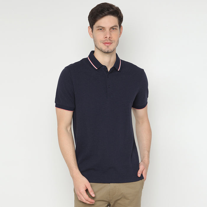 Striped Collar 06 Polo - Navy