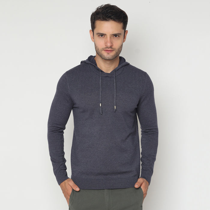 Hooded Knit Sweater - Grey