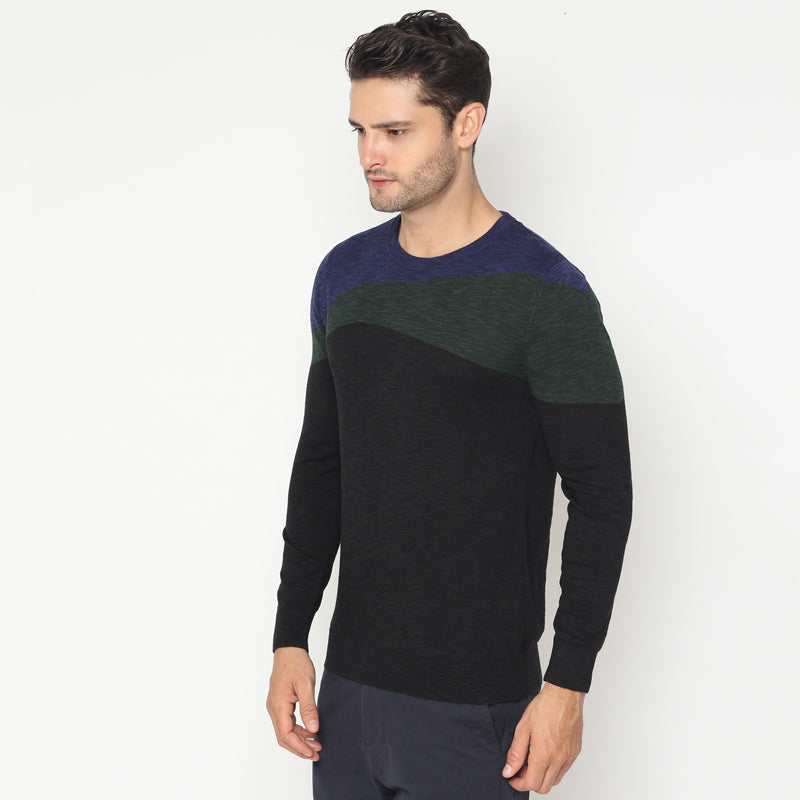 Tri Colour Knit Sweater - Black