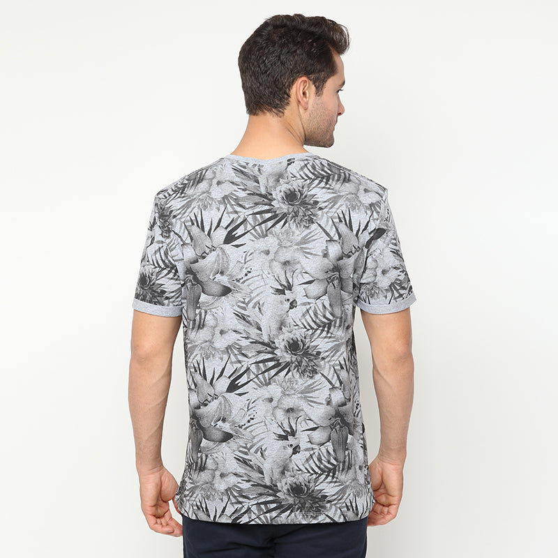 Floral Print 02 S/S Tee - Grey
