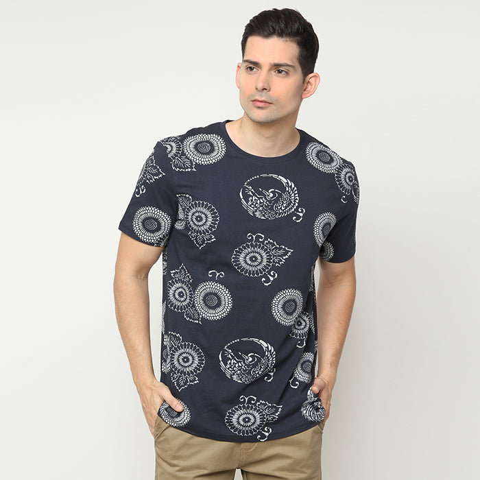 Floral Print 03 S/S Tee - Navy