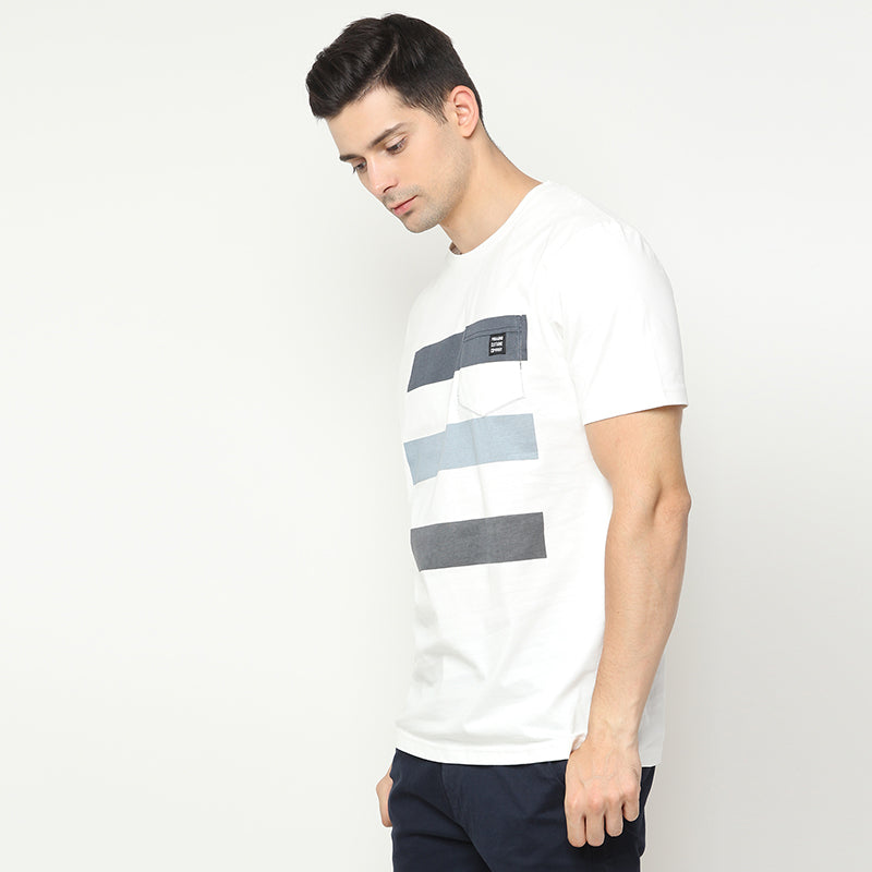 Striped Pocket 08 S/S Tee - White