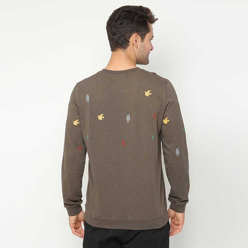 Embroidered Sweatshirt - Brown