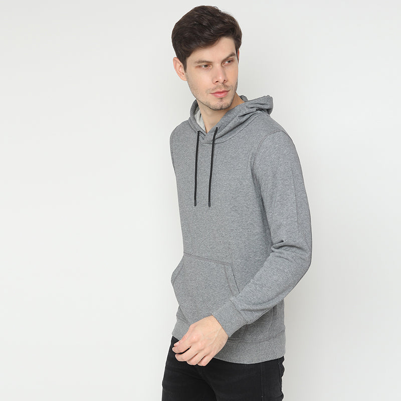 Contrast Lace Hoodie - Grey